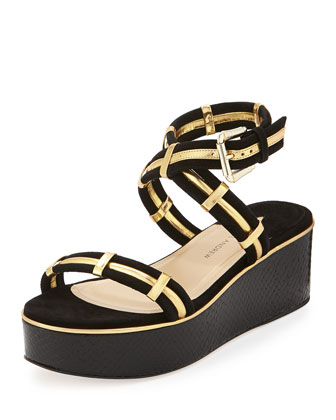 Suede Crisscross Wedge Sandal, Black