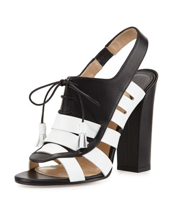 Tassel-Loafer Leather Sandal, Black/White