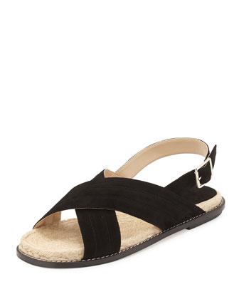 Suede Espadrille Flat Sandal, Black