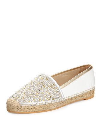Metallic Strass Espadrille Flat, Hollywood Regency