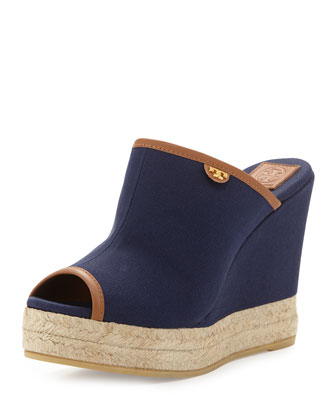 Canvas Peep-Toe Wedge Sandal, Navy