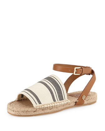 Flat Striped-Stretch Sandal, Black/White