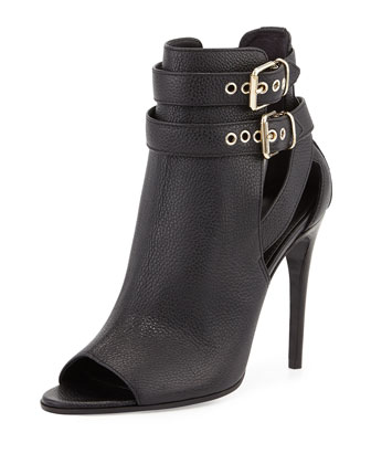 Overfield Open-Toe Bootie, Black