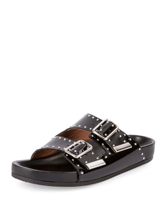 Studded Leather Sandal Slide, Black