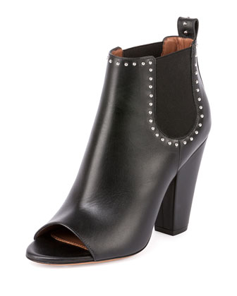 Studded Open-Toe Chelsea Boot, Black