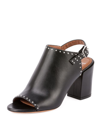 Studded Leather Slingback Mule, Black