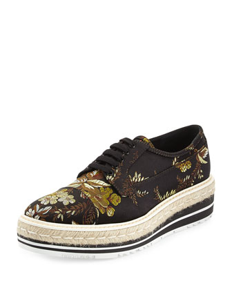Floral Jacquard Platform Low-Top Sneaker, Black (Nero)