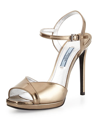 Metallic Leather Ankle-Wrap Sandal, Platino