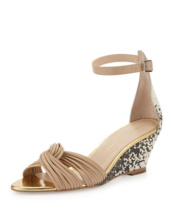 Anya Embossed Snake Wedge Sandal, Nude