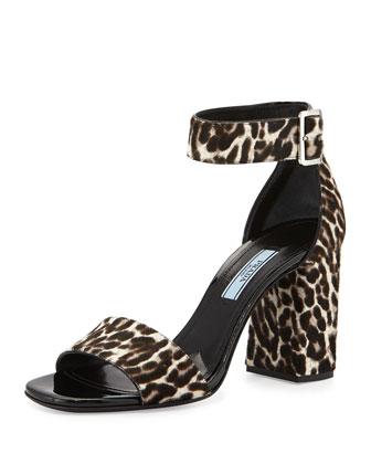 Leopard-Print Calf-Hair Sandal, Talc (Talco)