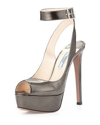 Metallic Ankle-Wrap Platform Sandal, Anthracite