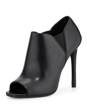 Open-Toe Leather High-Heel Bootie, Nero (Black)