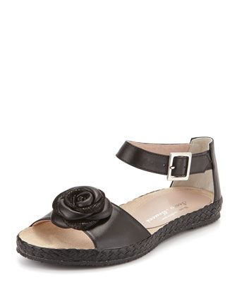 Zoey Rose Flat Leather Sandal, Black