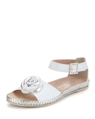 Zoey Rose Flat Leather Sandal, White/Silver