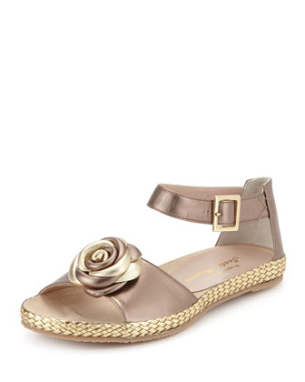 Zoey Rose Flat Leather Sandal, Pewter