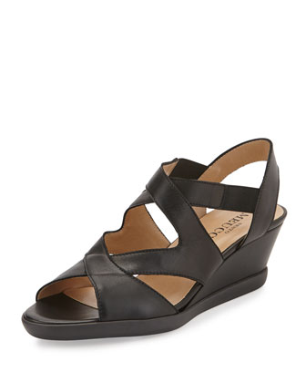 Natalie Crisscross Wedge Sandal, Black