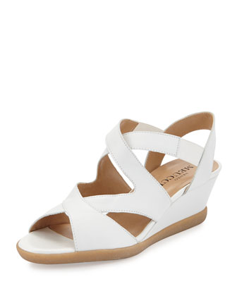 Natalie Crisscross Wedge Sandal, White
