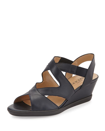 Natalie Crisscross Wedge Sandal, Navy