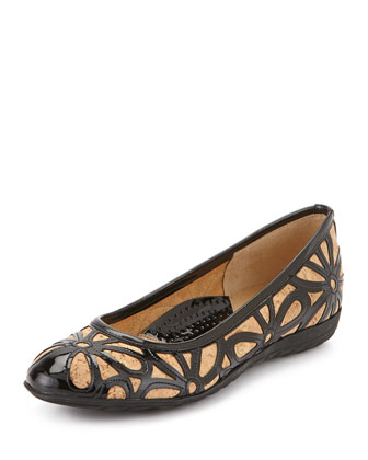 Bobbi Floral Ballerina Flat, Natural/Black