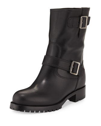 Soft Calf Leather Buckle Moto Boot, Black (Nero)