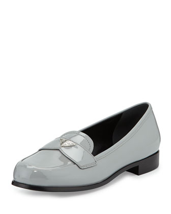 Patent Leather Slip-On Loafer, Granite (Granito)