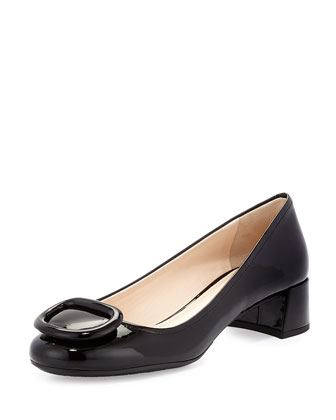 Chunky-Heel Patent Leather Pump, Black (Nero)