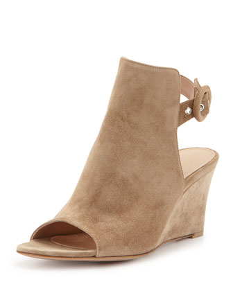 Open-Toe Slingback Wedge Bootie, Beige
