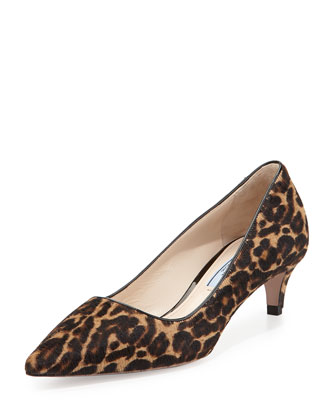 Leopard Calf-Hair Low-Heel Pump