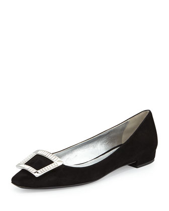 Suede Jeweled-Buckle Flat, Black (Nero)