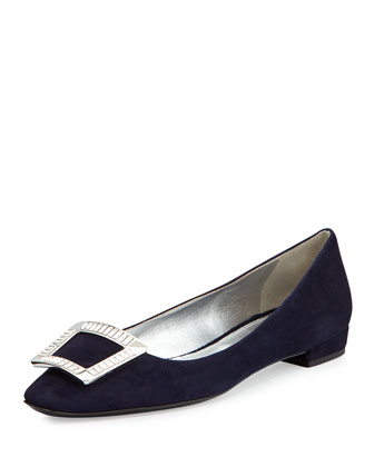 Suede Jeweled-Buckle Flat, Bleu