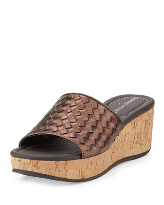 Safari 3 Woven Leather Wedge Slide