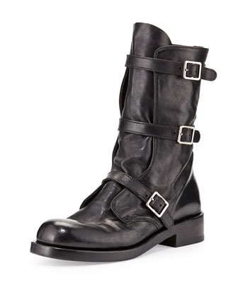 Triple-Buckle Moto Boot, Black
