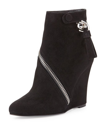 Asymmetrical Zip Wedge Bootie, Black
