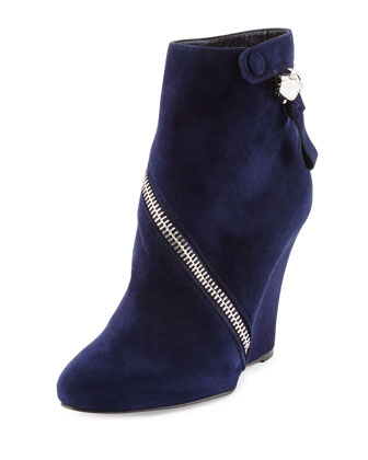 Asymmetric Zip Wedge Boot, Navy