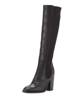 Isild Quilted Leather Knee Boot, Black