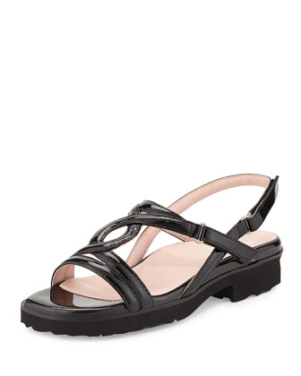 Tabatha Patent Leather Sandal, Black