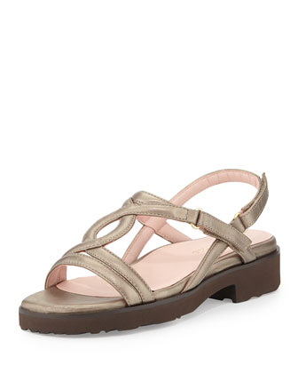 Tabatha Metallic Leather Sandal, Quartz