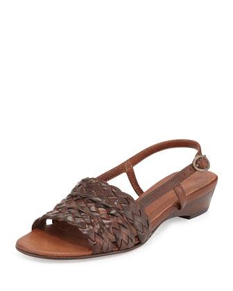 Ginny Woven Slingback Sandal, Dark Tan
