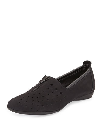Amberly Perforated Slip-On Flat, Black