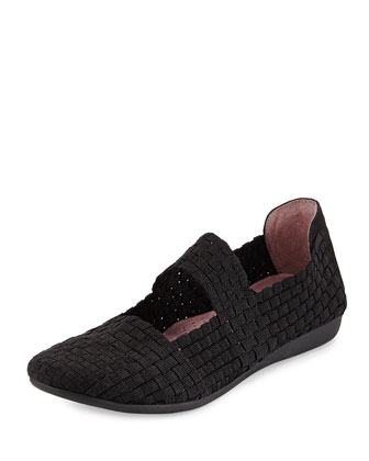 Bela Woven Mary Jane Flat, Black