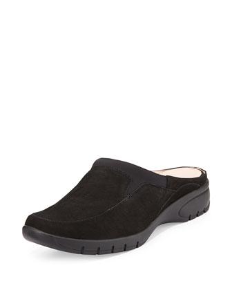 Akiva Nubuck Slip-On Mule, Black