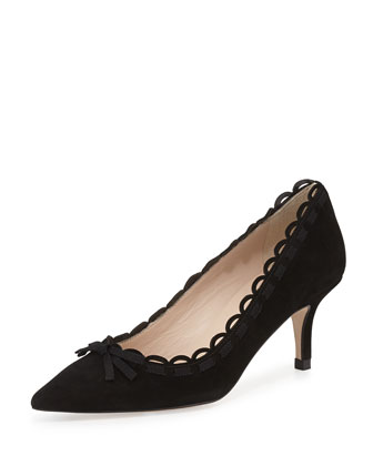 Phoenix Scalloped Suede Pump, Black