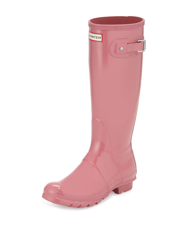 Original Tall Gloss Rain Boot, Rhodonite Pink, Women's, Size: 9B - Hunter Boot