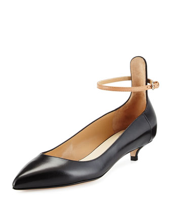 Leather Ankle-Strap Low-Heel Pump, Black