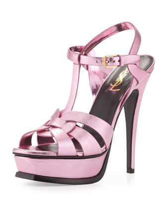 Tribute Metallic Leather Platform Sandal, Pink