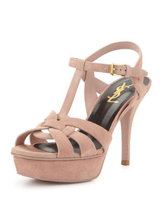 Tribute Suede Platform Sandal, Pale Pink