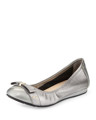 Monica Metallic Ballet Flat, Armor