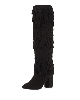 Woodstock Fringed Suede Knee Boot, Black