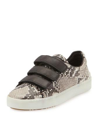 Kent Grip-Strap Lo-Top Sneaker, Fawn Python