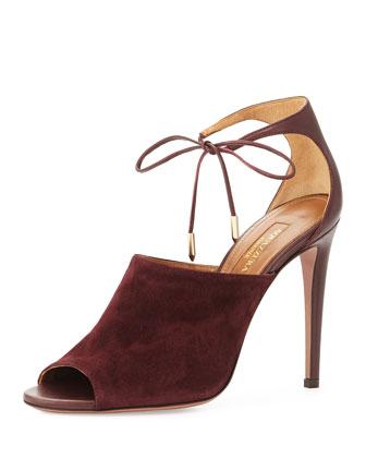 Estelle Ankle-Tie Sandal, Prune